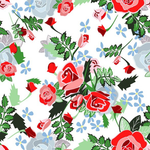 Roses Chintz Red on blue