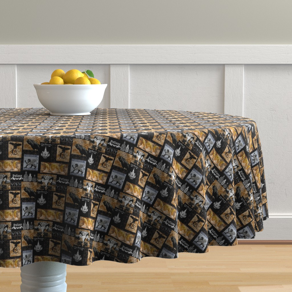 Malay Round Tablecloth featuring Spells and Potions Smaller by tracy_dixon