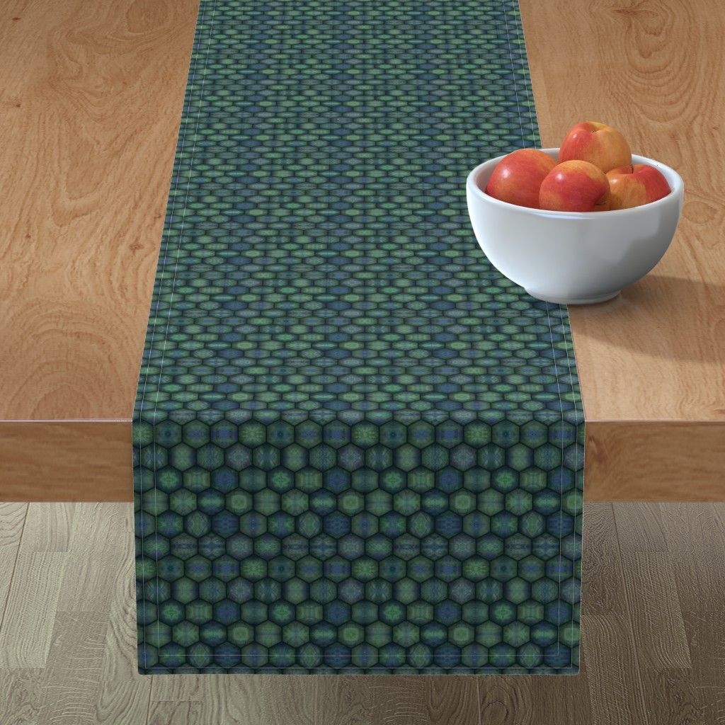 Minorca Table Runner featuring Turtle Shell - Hexagons - Green by lierre
