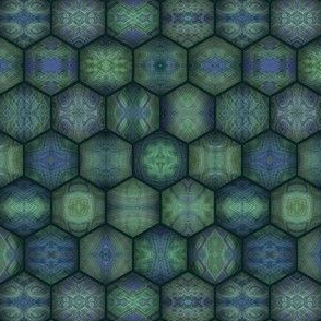 Turtle Shell - Hexagons - Green