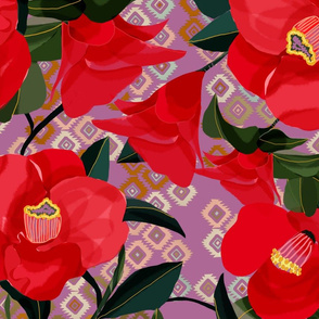 Red camellias on lilac kil