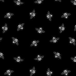Little Bee White on Black