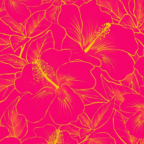 Hibiscus Sketch Pineapple on Ti 150