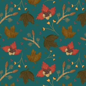 fall leaves and acorns teal