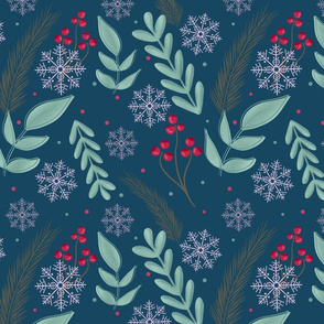 Christmas retro foliage teal