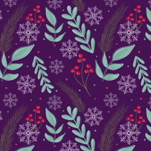 Christmas retro foliage purple