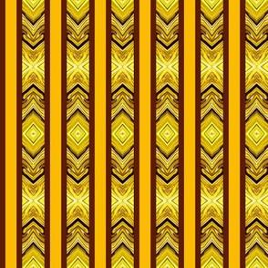 Medium - Arrowhead Stripes in Rusty Brown - Gold - Yellow