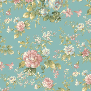 Teal and Pink Vintage Floral