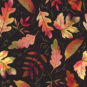 Autumn Leaves with black ground