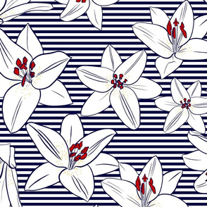 Lilies on stripes large