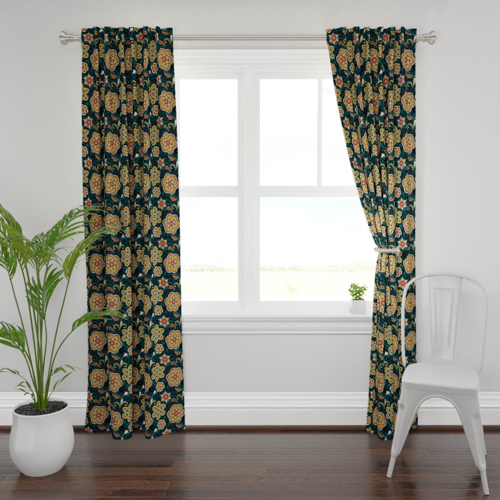 Plymouth Curtain Panel featuring Kaleidoscope flowers by friedlosundstreitsuechtig