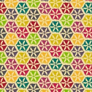 hexagone multicolore