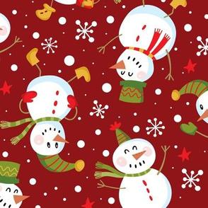 Snowmen Scatter-Red-Lg