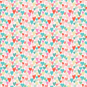 love hearts multi small scale in turquoise by Pippa Shaw