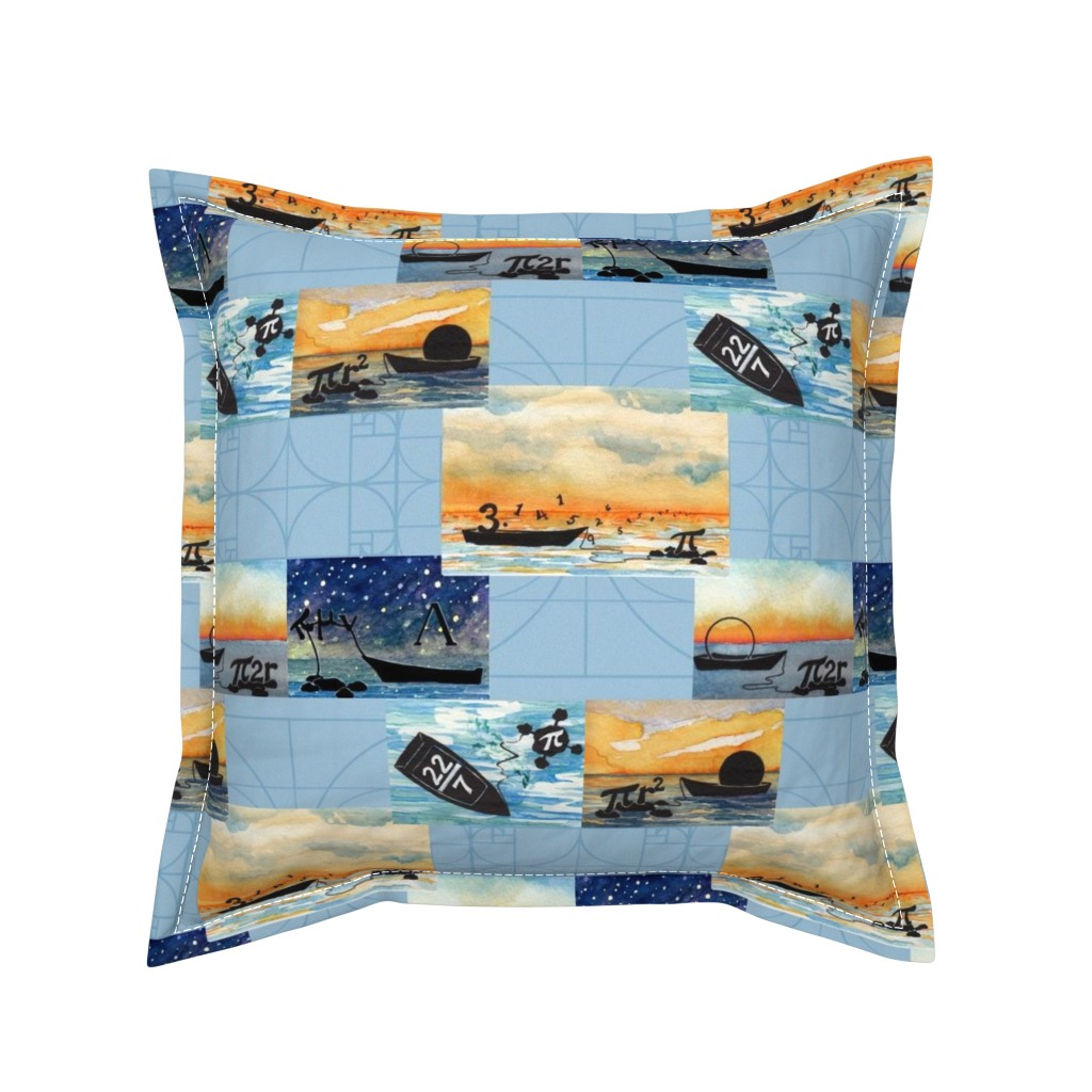 Serama Throw Pillow featuring Life of π on antique blue by megchop