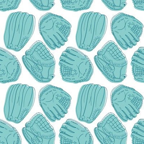 aqua softball glove