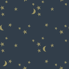 stars and moons // soft gold on 174-16
