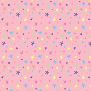 Rainbow Stars on Pink - Small Scale