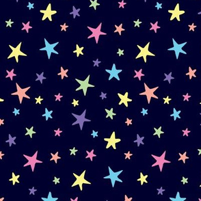 Rainbow Stars on Navy Blue - Medium Scale