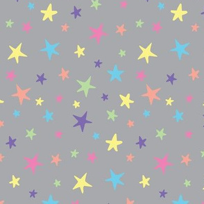 Rainbow Stars on Gray - Medium Scale