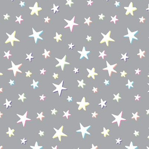 Rainbow Stars on Gray - White Shadow - Medium Scale