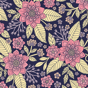 Pink, Purple & Cream Floral/Botanical Pattern