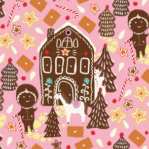 gingerbread happy on pink