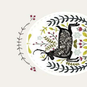 Folk Art Deer Oval Tea Towel