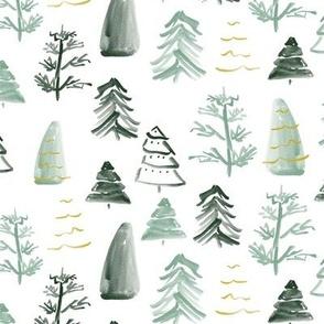 Christmas Trees on White