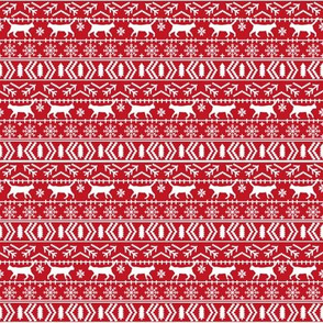 SMALL - christmas cat fair isle fabric red christmas fabric sweater fabric cute sweater fabrics christmas reds xmas holiday design