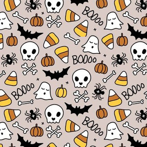 Little halloween candy skulls spider friends and bats kids pumpkin season beige