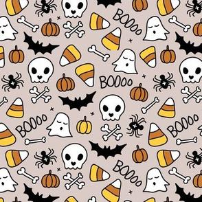 Little halloween candy skulls spider friends and bats kids pumpkin season beige