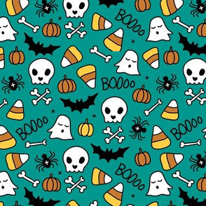 Little halloween candy skulls spider friends and bats kids pumpkin season green teal