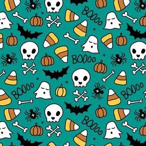 Little halloween candy skulls spider friends and bats kids pumpkin season green teal