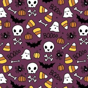 Little halloween candy skulls spider friends and bats kids pumpkin season purple augergine