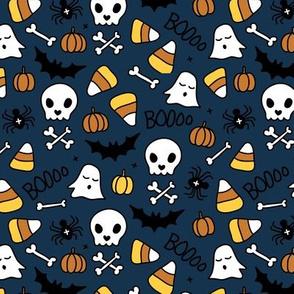 Little halloween candy skulls spider friends and bats kids pumpkin season night navy blue