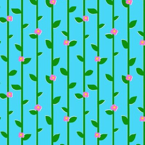 Pink Flowers and Green Trellis Leaves
