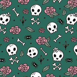 Little roses and bones skulls for girls halloween day of the dead skeleton garden pink forest green