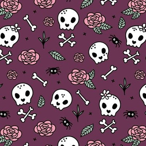 Little roses and bones skulls for girls halloween day of the dead skeleton garden purple aubergine