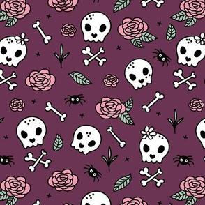 Little roses and bones skulls for girls halloween day of the dead skeleton garden purple aubergine