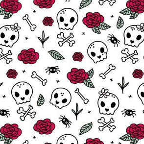 Little roses and bones skulls for girls halloween day of the dead skeleton valentine garden white mint red