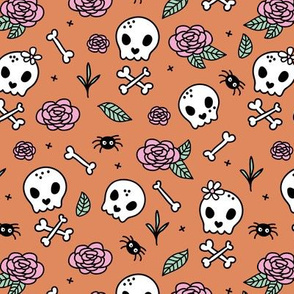 Little roses and bones skulls for girls halloween day of the dead skeleton garden pink mint orange cinnamon