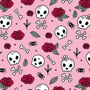 Little roses and bones skulls for girls halloween day of the dead skeleton valentine garden pink green