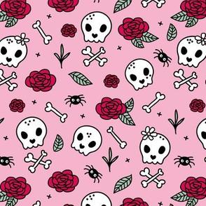 Little roses and bones skulls for girls halloween day of the dead skeleton valentine garden pink green
