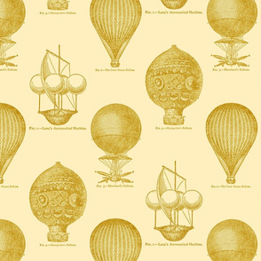 Balloon Toile Gold on Ecru