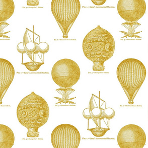 Balloon Toile Gold on White
