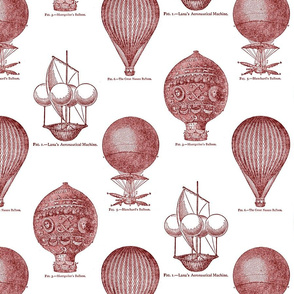 Balloon Toile Red on White