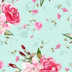 pink rose chintz - light aqua