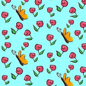 Roses and Butterflies on Aqua- a This  Little Piggy Coordinate