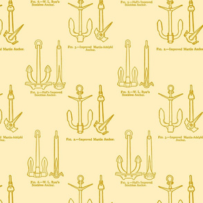 Anchor Toile Gold on Ecru
